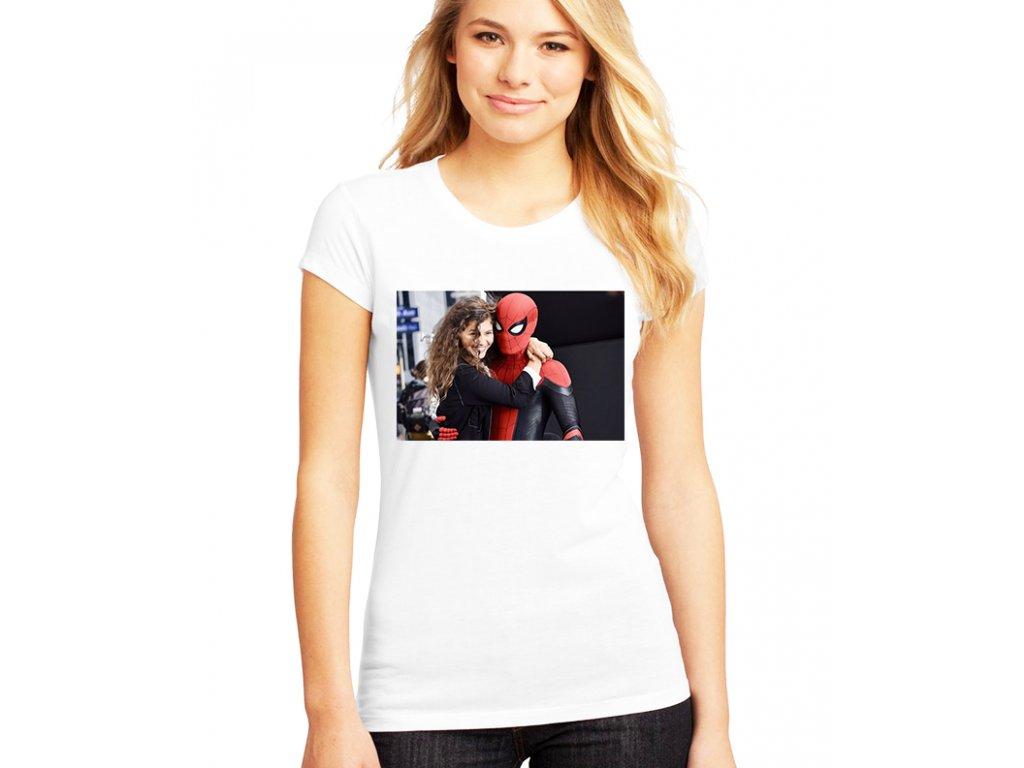 dámské bílé tričko zendaya a spiderman