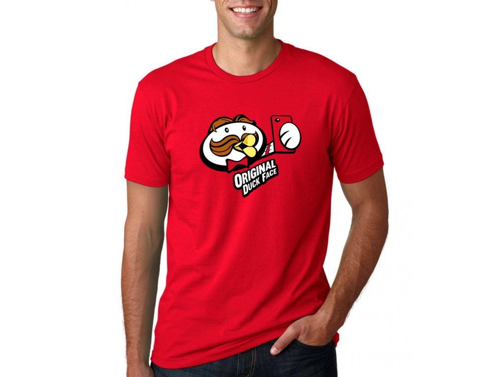 pánské červené tričko duck face - imitace brambůrků pringles