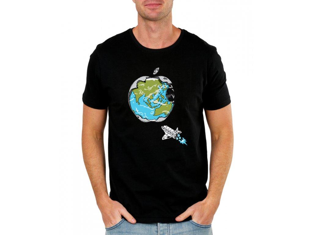pánské černé tričko s potiskem apple imitace loga apple na zemi