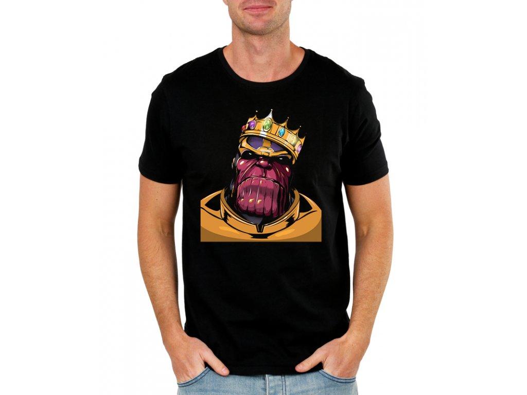 pánské černé tričko s potiskem thanos avengers infinity war