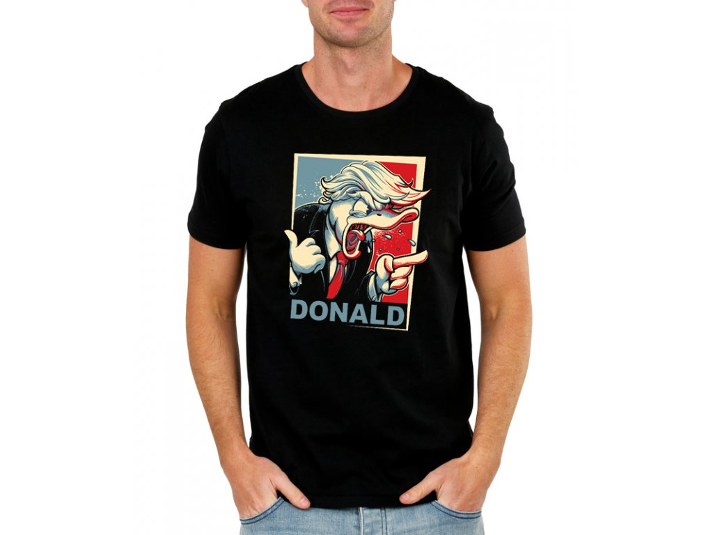 pánské černé tričko donald trump kačer donald