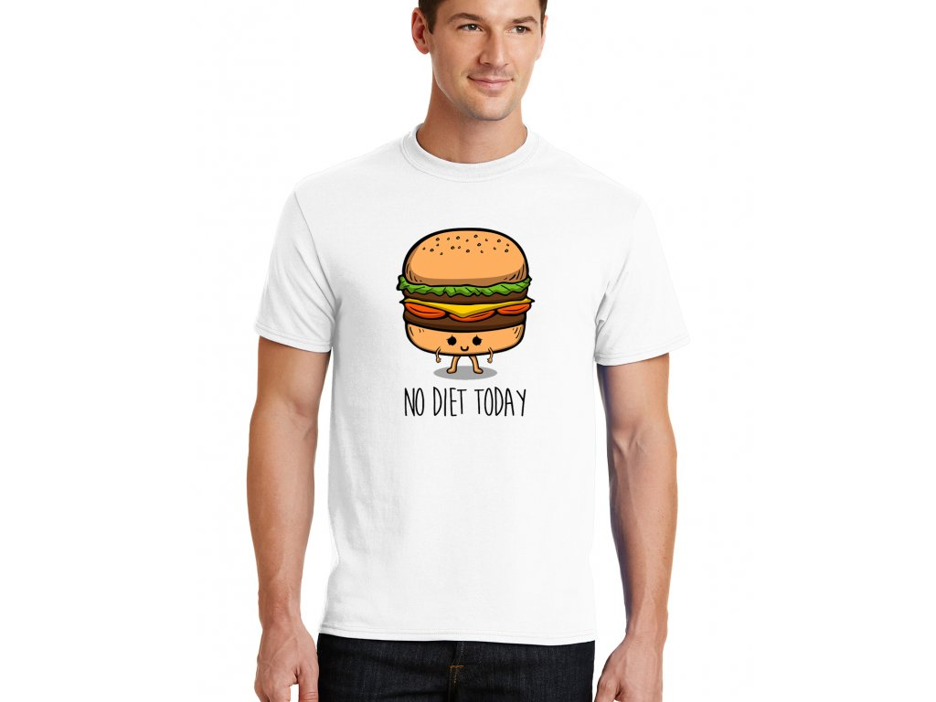 pánské bílé tričko dneska nedržím dietu