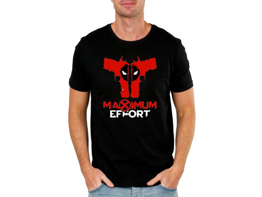 pánské černé tričko s potiskem deadpool maximum effort