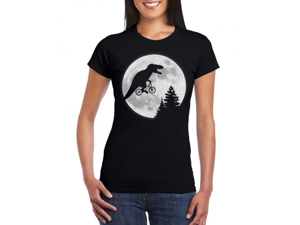 dámské černé tričko t rex měsíc