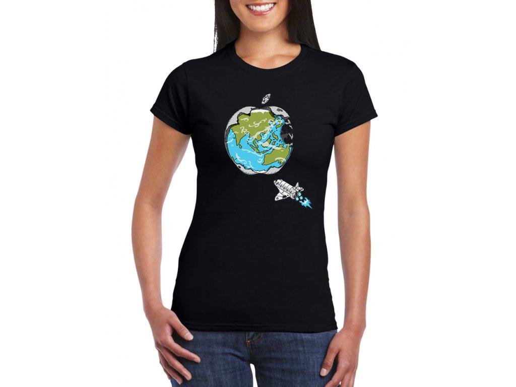 dámské černé tričko apple svět