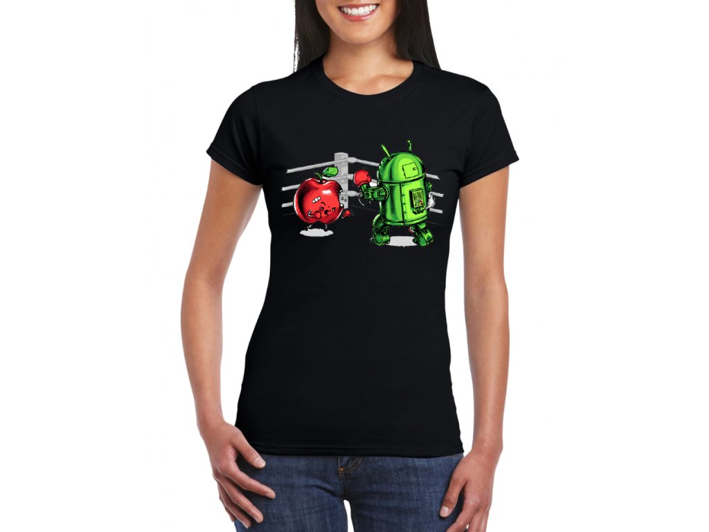 dámské černé tričko android vs apple fight