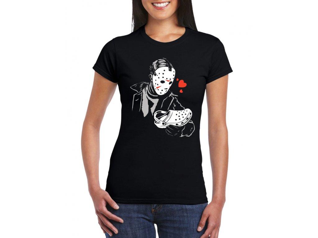dámské černé tričko s potiskem zloděj je zamilovaný do pantofle