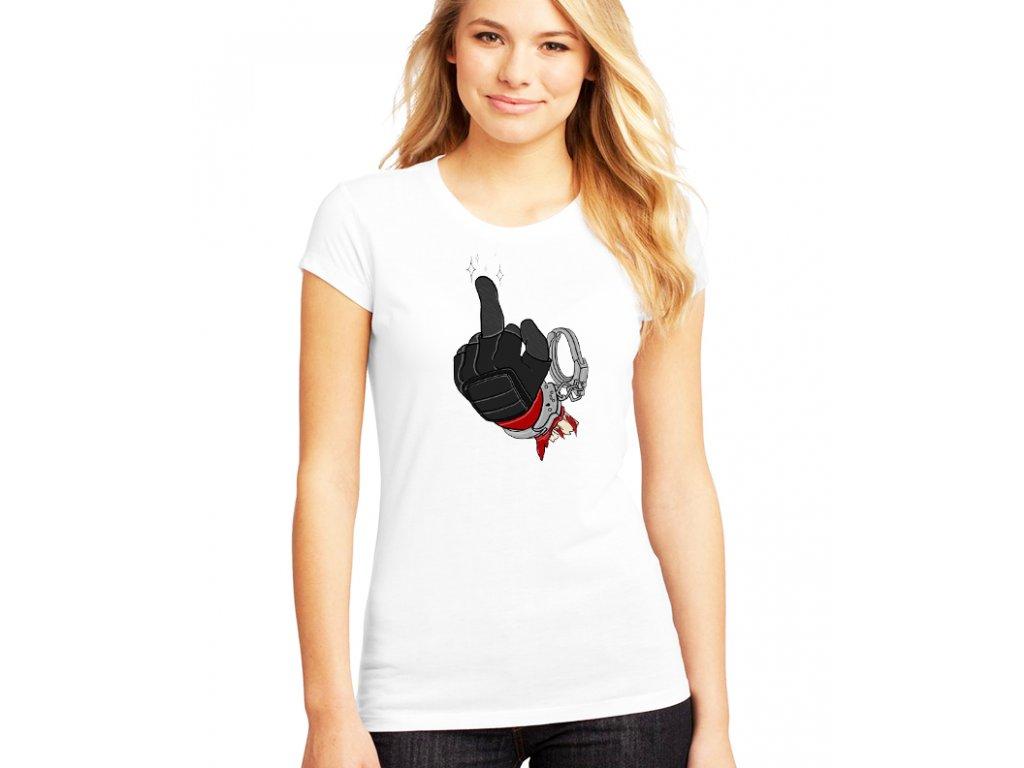dámské tričko s potiskem deadpool a prostředníček