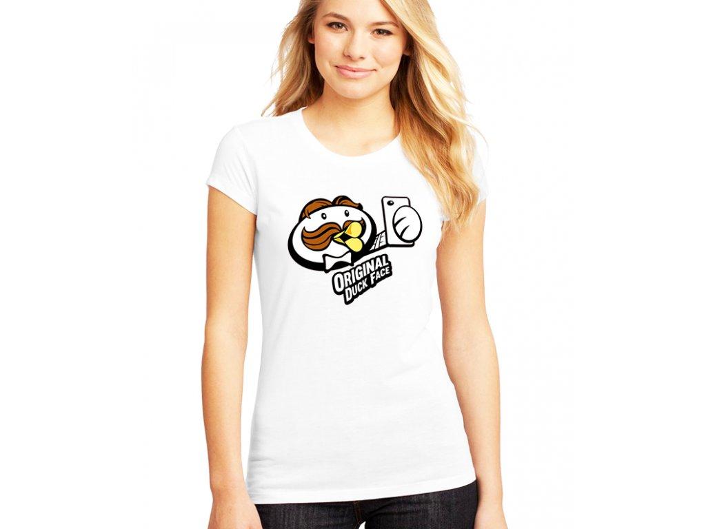 dámské bílé tričko duck face pringles