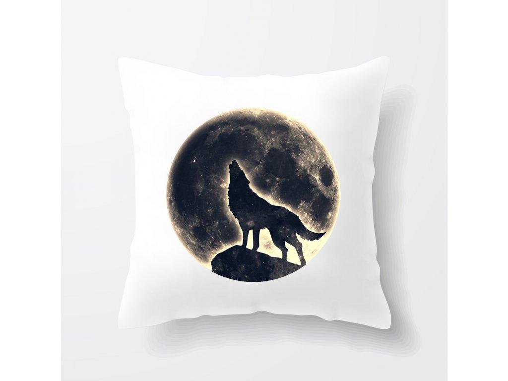 polštář Měsíc vlk