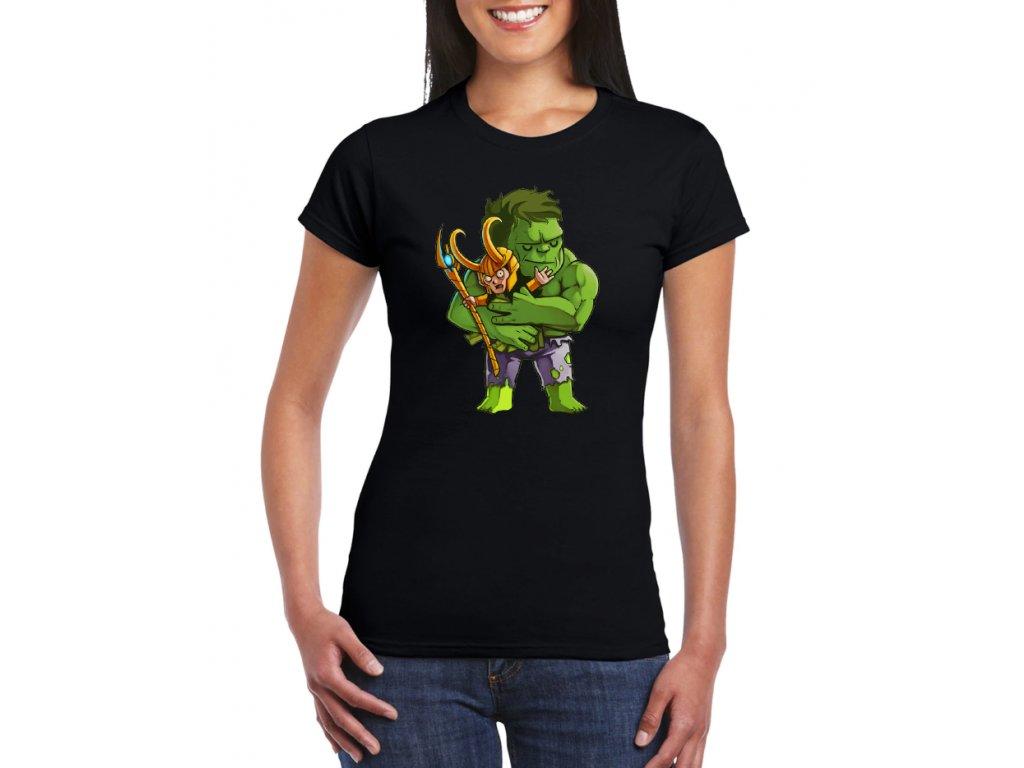 dámské tričko s potiskem hulk a loki avengers, nejlepší kamarádi
