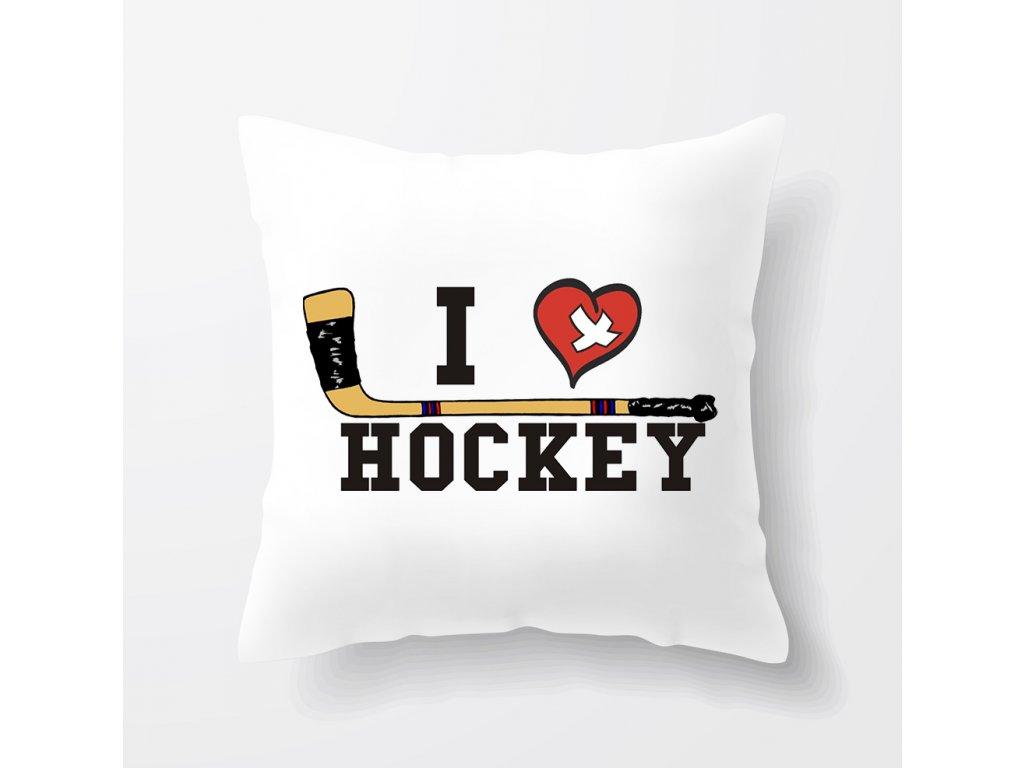 polštář Miluji Hokej