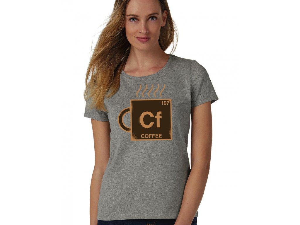 dámské šedé tričko kafe chemická značka kafe
