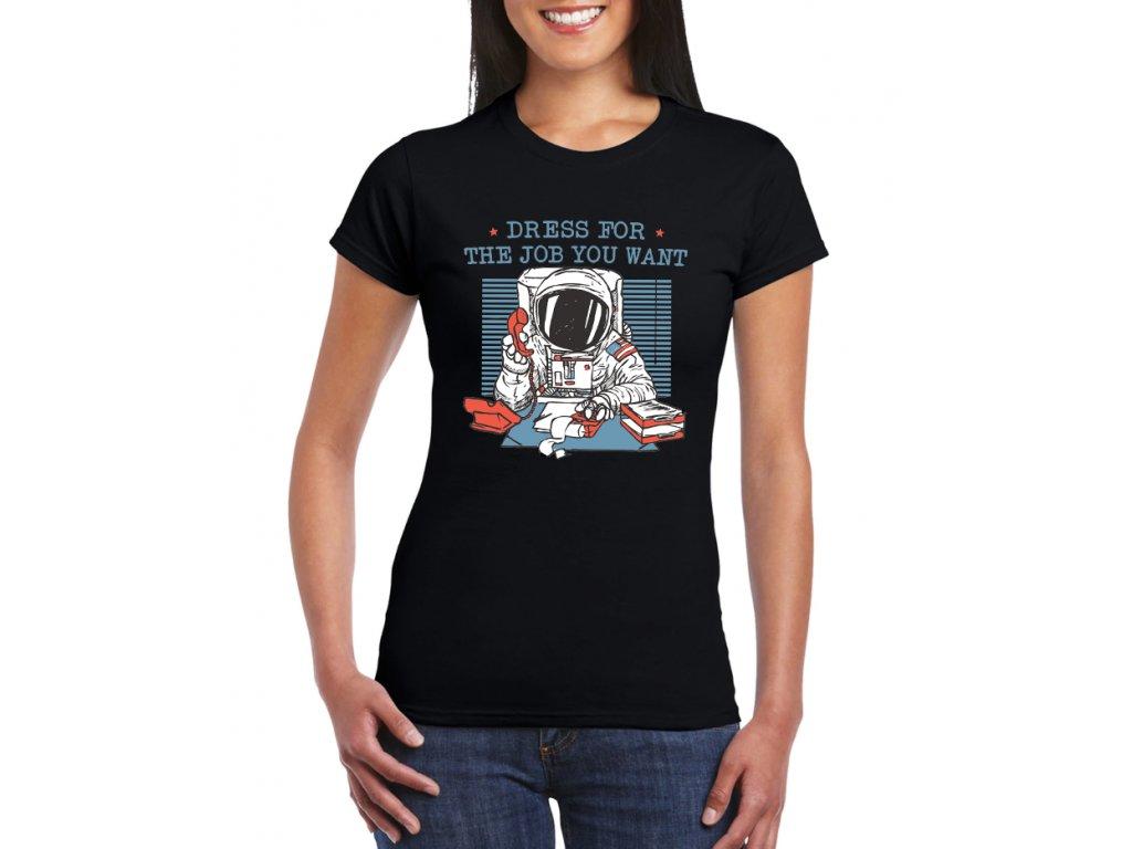 dámksé černé tričko práce kosmonaut