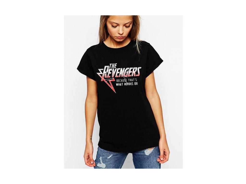Dámské černé tričko revengers avengers