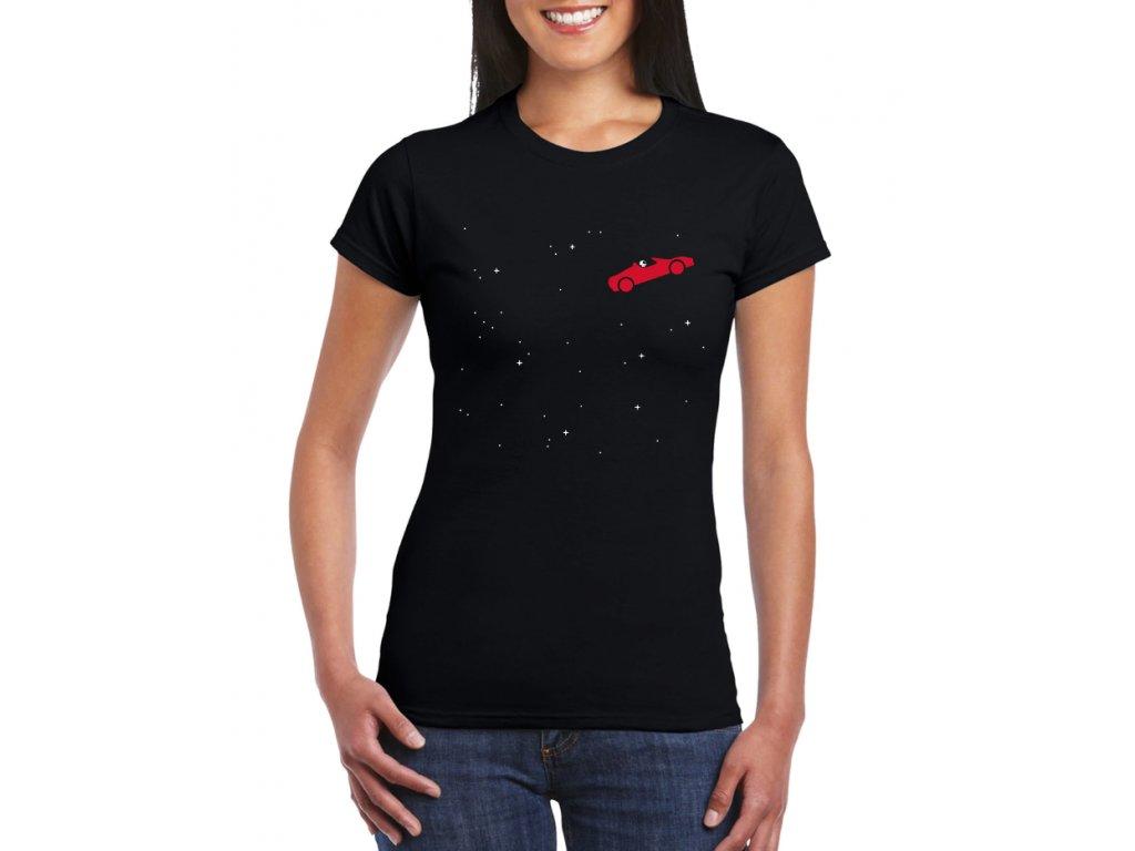 dámské černé tričko elon musk roadster