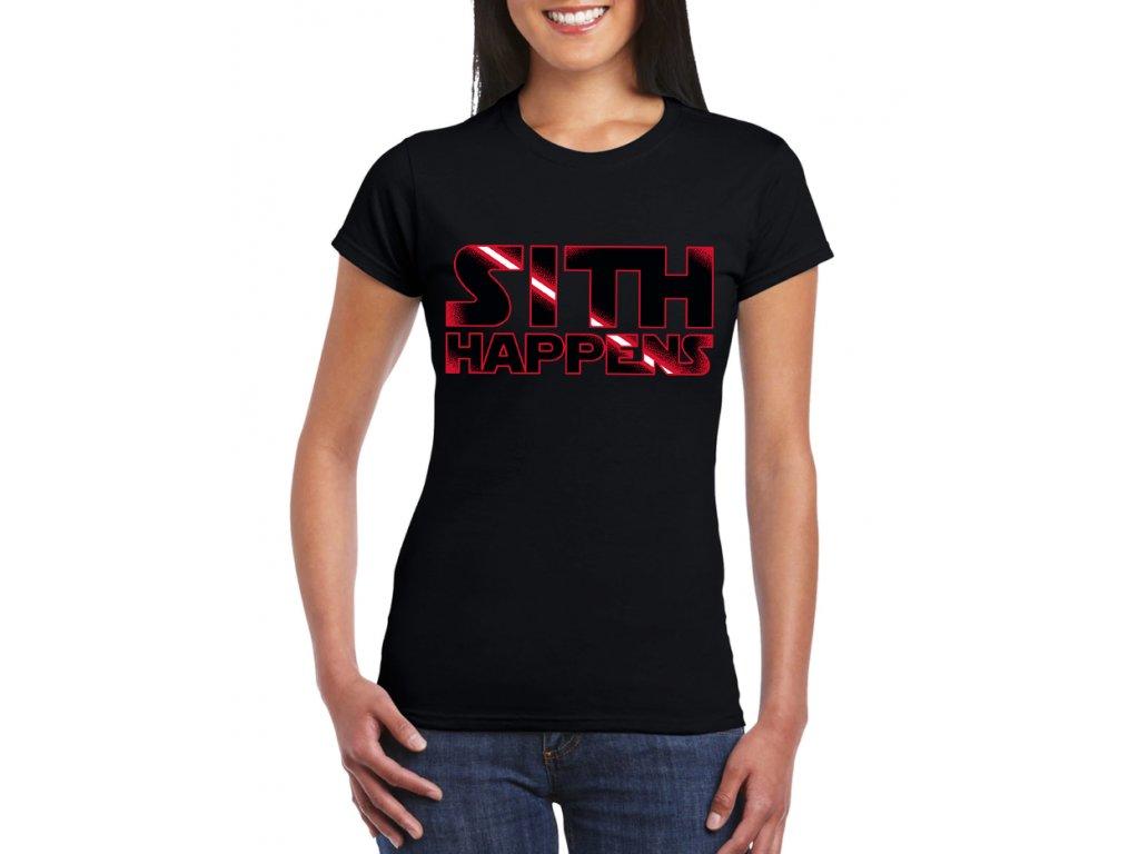 Dámské černé tričko Sith Happens