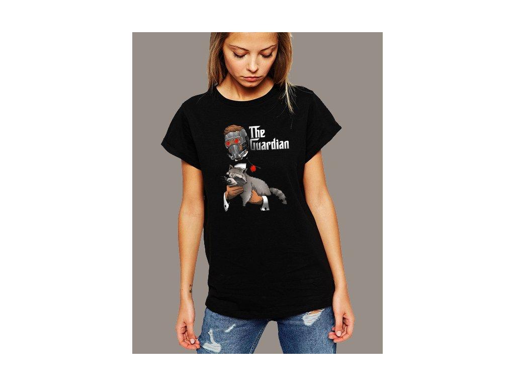 Dámské černé tričko Strážci galaxie Rocket a starlord