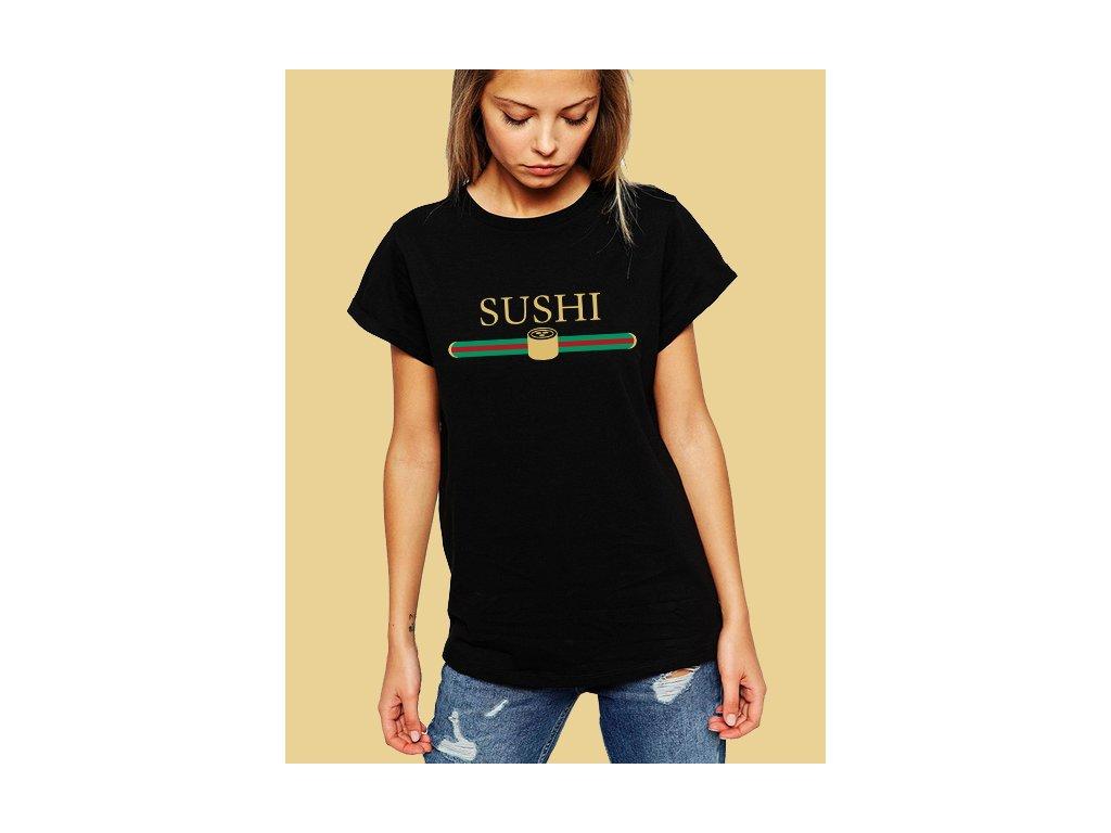 dámské černé tričko gucci s vtipnou parodií sushi