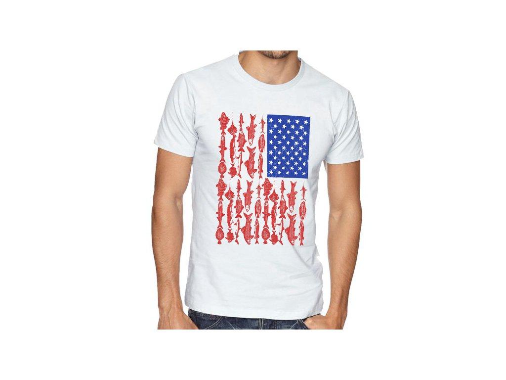pánské tričko rybaření americká vlajka