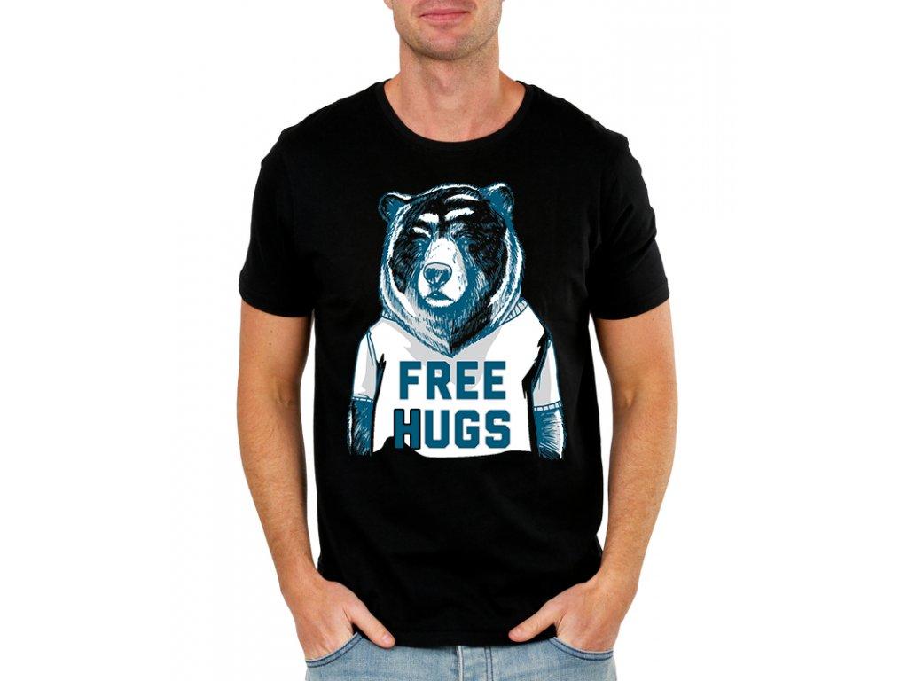 pánské černé tričko s potiskem obětí zdarma medvěd