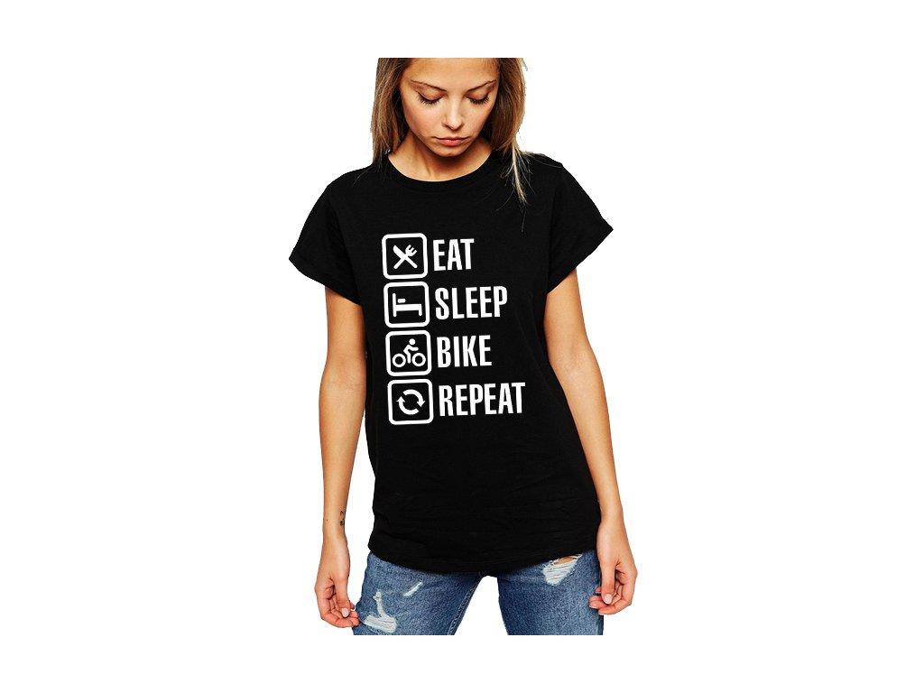 Dámské tričko Najíst Vyspat Motorka Opakovat