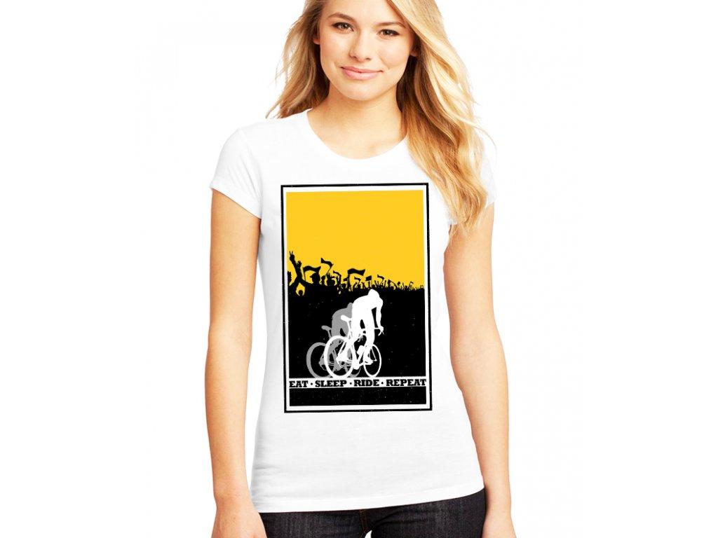 Dámské tričko Cyklista Najít Vyspat Jezdit Opakovat