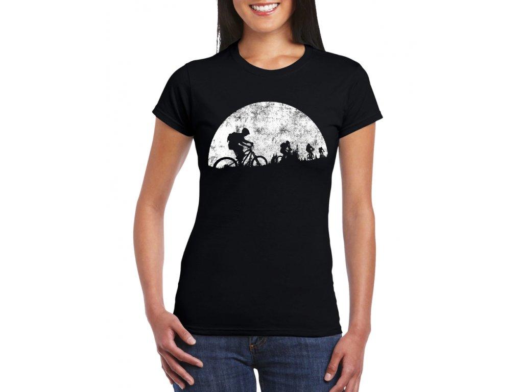 Dámské tričko Měsíční jízda cyklistika