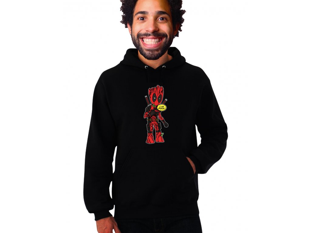 černá unisex mikina s kapucí Deadpool a Groot