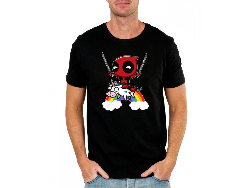 Pánské černé tričko deadpool
