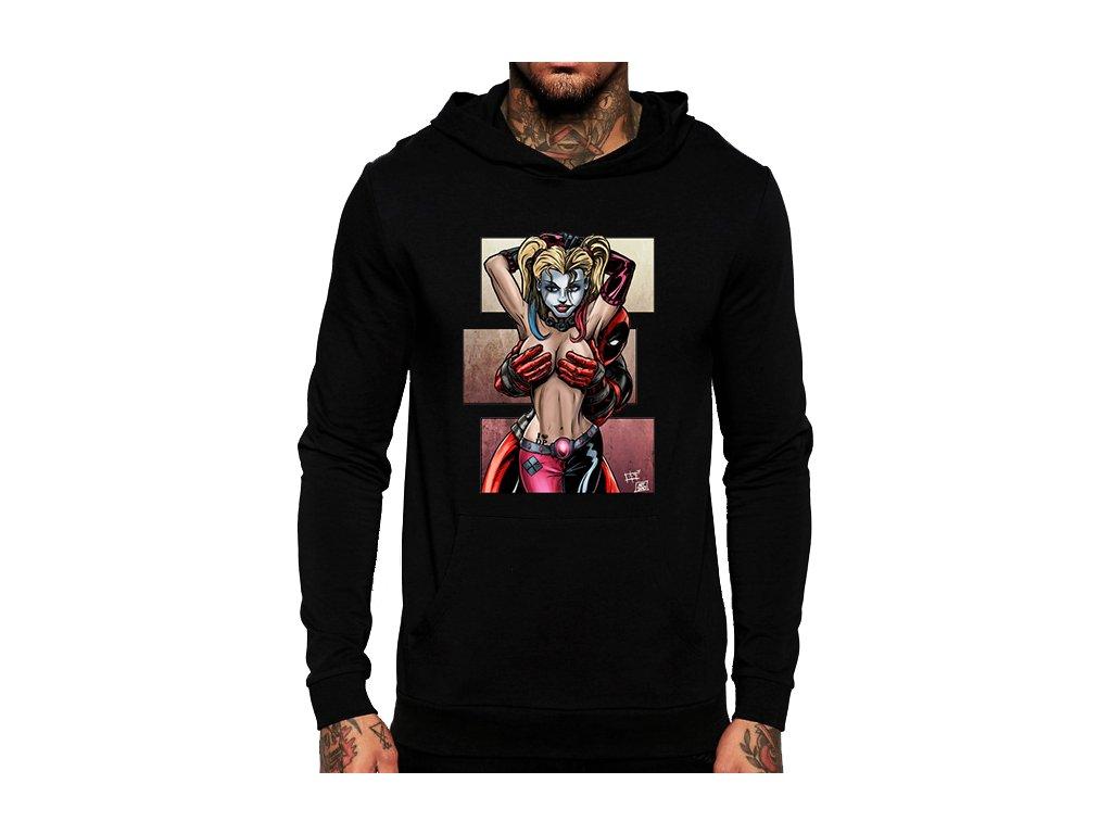 černá unisex mikina s kapucí Deadpool a Harley Quinn