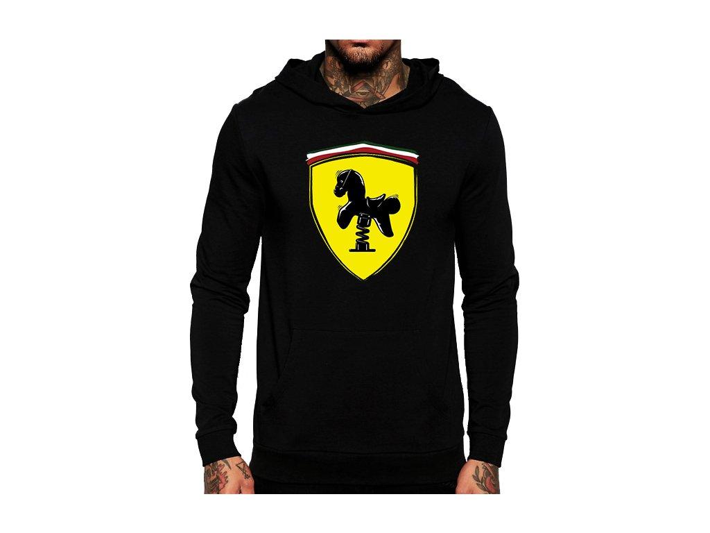 černá unisex mikina s kapucí Ferrari kůň