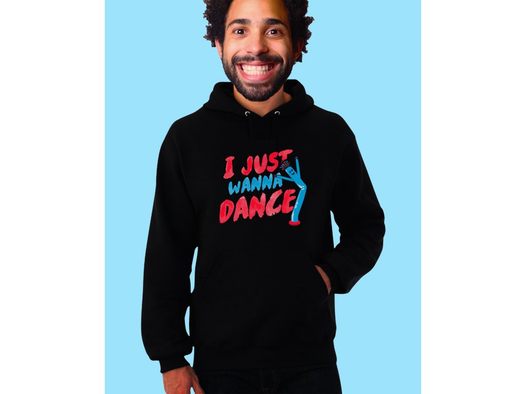 černá unisex mikina s kapucí Chci Prostě Tancovat