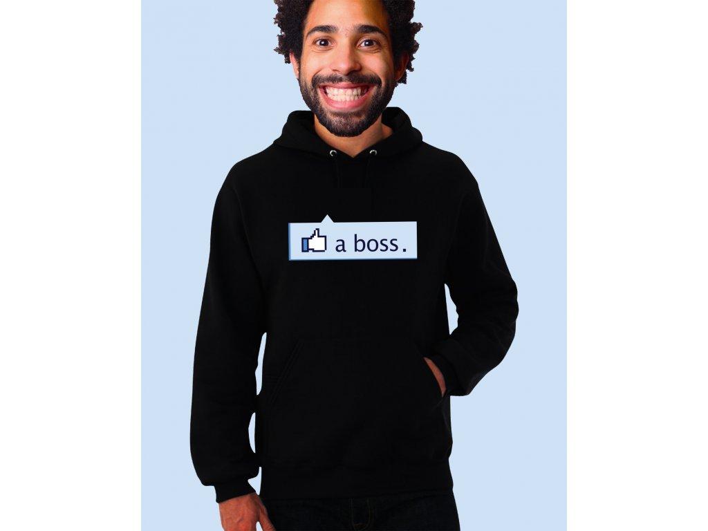 černá unisex mikina s kapucí Like a Boss