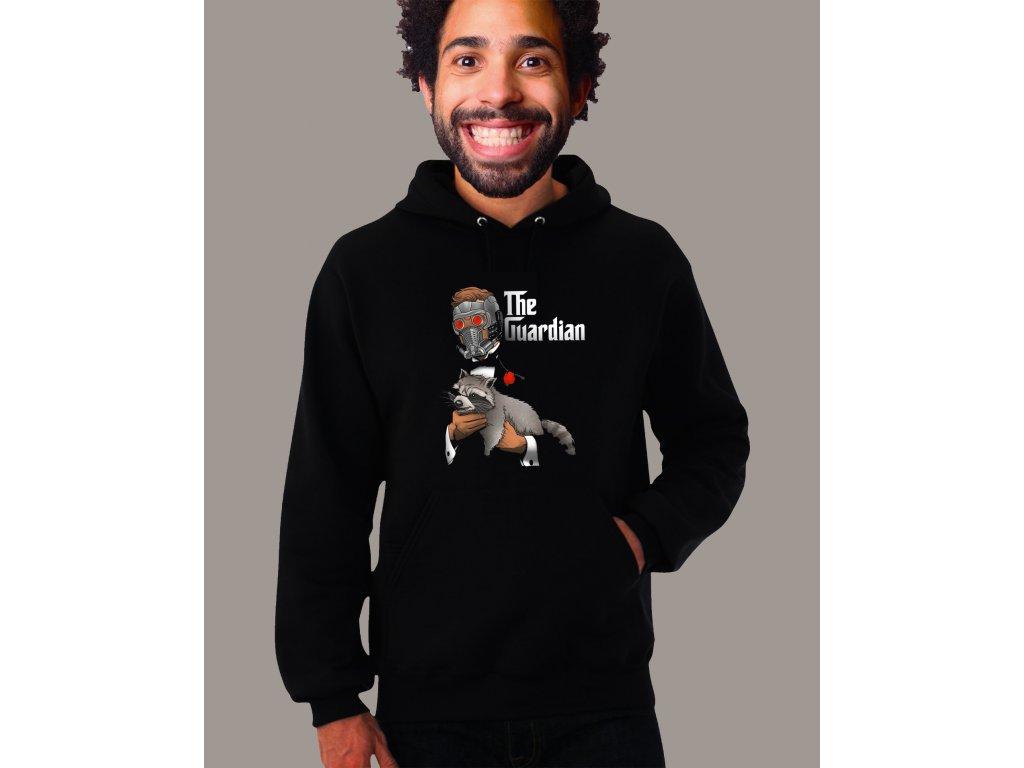 černá unisex mikina s kapucí Strážci galaxie Rocket a starlord