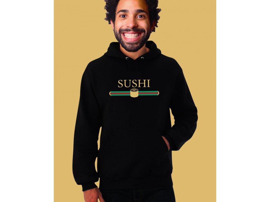 černá unisex mikina s kapucí Sushi aka Gucci