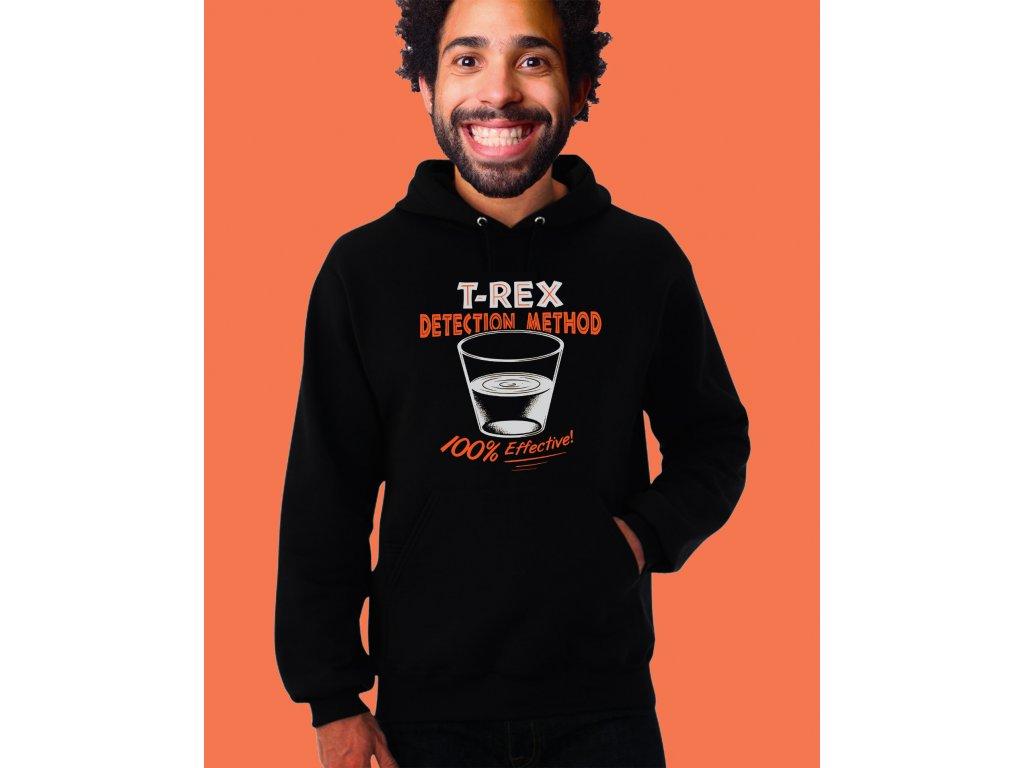 černá unisex mikina s kapucí T Rex