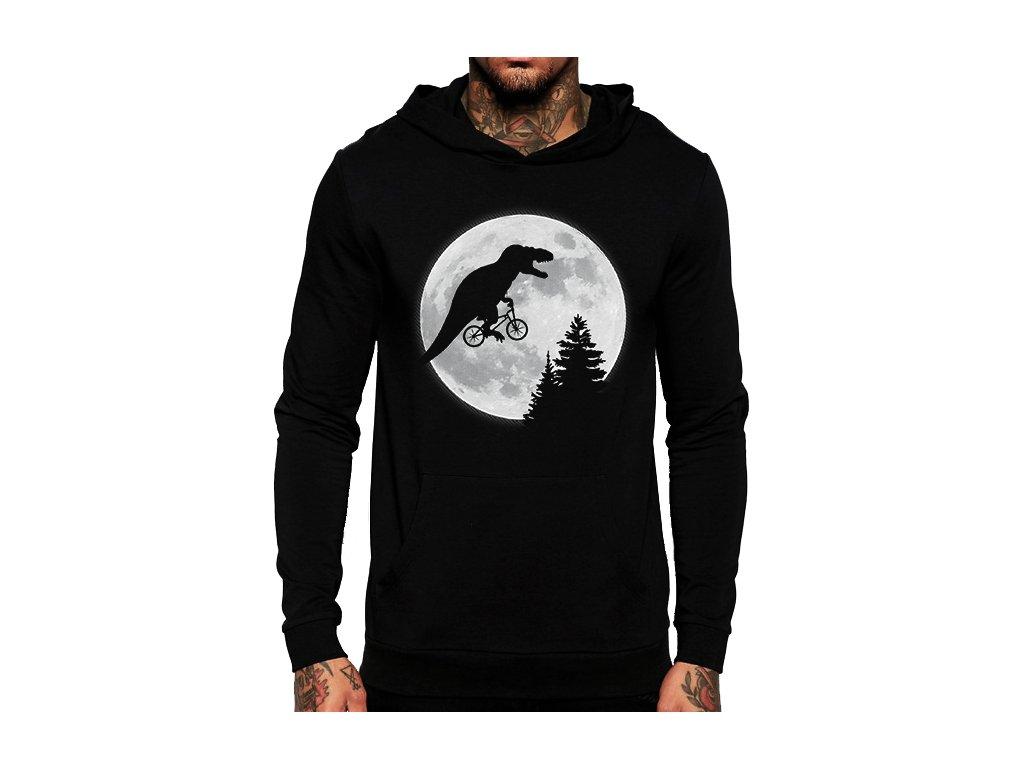 černá unisex mikina s kapucí t rex moon