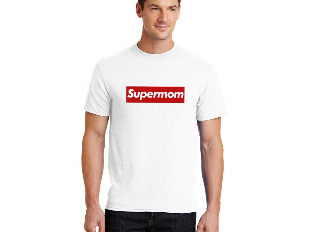 pánské bílé tričko supermom parodie supreme