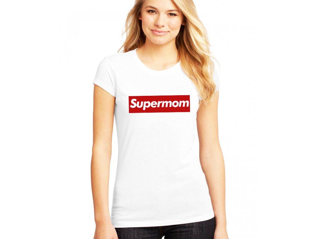 dámské bílé tričko supermom parodie supreme