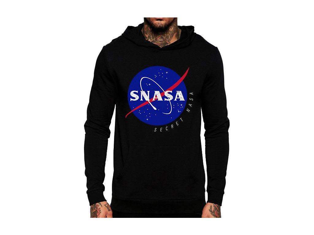 unisex černá mikina s kapucí Snasa tajná Nasa