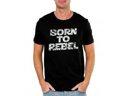 pánské černé tričko narozen být rebel