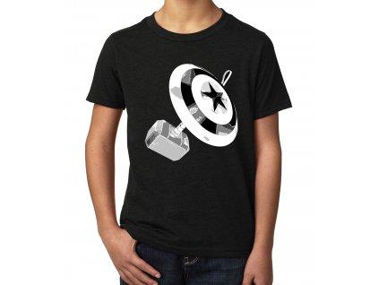 Dětské tričko Kapitán amerika štít a kladivo