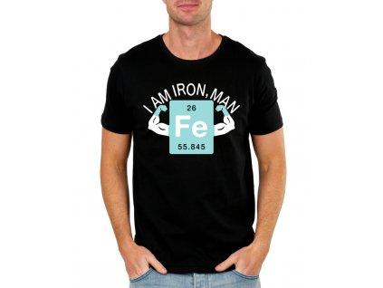 pánské černé tričko iron man - chemická značka železa FE
