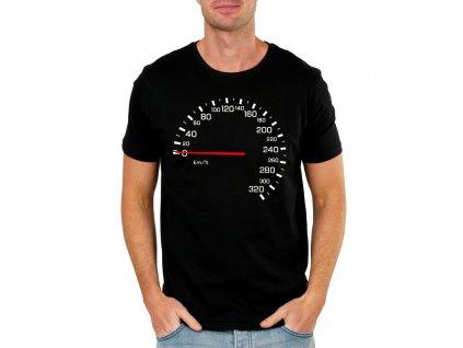 pánské černé tričko tachometr závodník