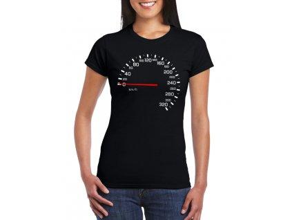 dámské černé tričko tachometr závodník