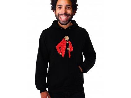 Unisex černá mikina s kapucí drake
