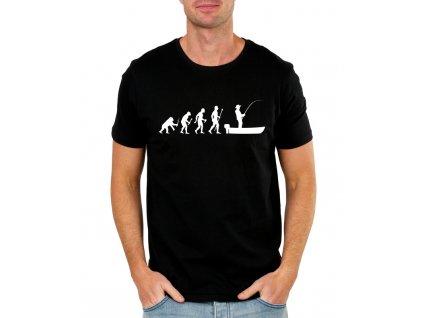 pánské černé tričko evoluce rybář