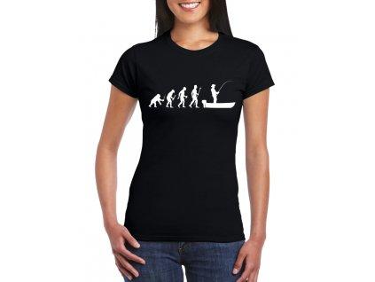 dámské černé tričko evoluce rybář