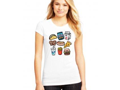 dámské bílé tričko nezdravé jídlo